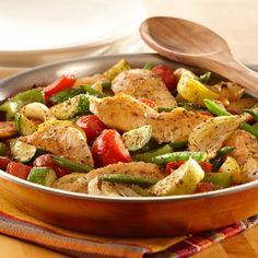 Italian seasoning and seasoned salt seasons this sauté of chicken and vegetables. Use any combination of vegetables you have on hand.