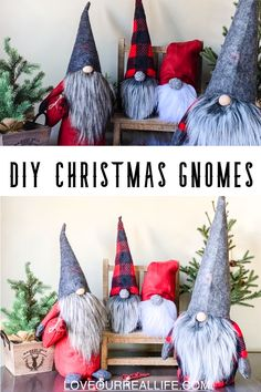 DIY Christmas Gnomes Tutorial- Learn to how make your own DIY Christmas gnomes. Tutorial for no sew sock version as well as DIY gnomes using simple sewing. DIY Christmas Gnomes Tutorial April at Love Our Real Life Easy Halloween Crafts, Easy Christmas Crafts, Christmas Fun, Christmas Decorations, Christmas Ornaments, Halloween Costumes, Gnome Ornaments, Room Decorations, Halloween Decorations