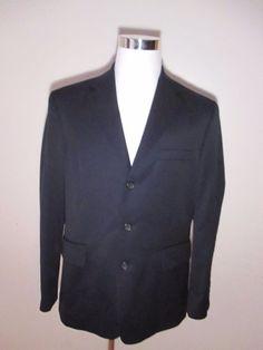 J Crew Men Size 42 R Navy Blue 100% Wool 3 Button Blazer Sport Coat Suit Jacket #JCrew #ThreeButton