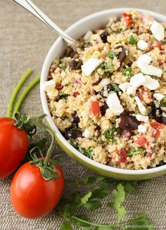 Mediterranean Quinoa Salad. No need for salt. Add a little ZSCo. Persian Spice for a healthy, unique dish to pass.
