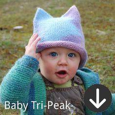 free Baby Tri-Peak Hat knitting pattern