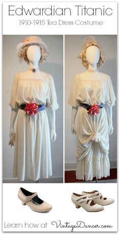 1912 Edwardian era white tea dresses for upper middle and first class Titanic passengers. Learn how to create these at VintageDancer.com
