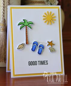 Lawn Fawn Life is Good, Whimsy Stamps Say What?, Lil' Inker Stitched Dies, Beach scene, CAS, Kylie Purtell