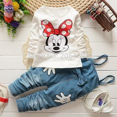 Girls Baby Minnie Mouse Tops T-shirt Bib Denim Pants Outfits Set Costume in Clothing, Shoes & Accessories, Baby & Toddler Clothing, Girls' Clothing Baby Girl Fashion, Fashion Kids, Style Fashion, Baby Set, My Baby Girl, Baby Love, Denim Pants Outfit, Denim Overalls, Outfits Niños
