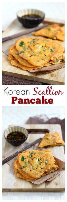 Korean Scallion Pancake (Pajeon) - savory pancake with scallion and kimchi, amazing appetizer that you can't stop eating | http://rasamalaysia.com
