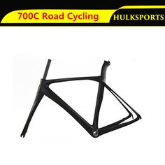 Carbon Fiber 700C Road Bike Bicycle Parts Fork Frame Seatpost Set Size 500mm Black for Road Cycling
