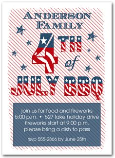 Stars and Stripes 4th of July BBQ #Invitations