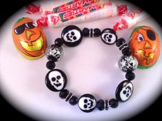 SKULLS and GLOWS  BRACELET Halloween for Pug Rescue by WhimsicalMystical on Etsy