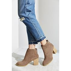 Short Suede Boot ($59) ❤ liked on Polyvore featuring shoes, boots, ankle booties, taupe bootie, zip ankle boots, taupe booties, taupe suede boots and short boots