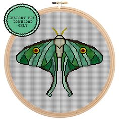 A personal favorite from my Etsy shop https://www.etsy.com/listing/232604080/luna-moth-cross-stitch-template-pattern