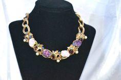 Vintage Schiaparelli Lava Art Glass Necklace by LustfulJewels
