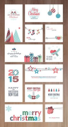Happy holidays, happy new year and Merry Christmas card series for business