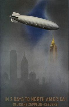 "(""In 2 Days to North America!"" Deutsche Zeppelin-Reederei) - 'Famous' Original Vintage Deco Travel Poster, Graphic and Illustration by Jupp Wiertz - Germany). Poster Art, Art Deco Posters, Vintage Advertisements, Vintage Ads, Arte Punk, Travel Ads, Travel Photos, Art Graphique, Advertising Poster"