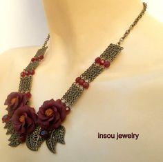 Flower Necklace Dark Red Necklace Flower Jewelry by insoujewelry