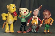 """A collection of licensed composition character figure toys, United States, 1935-39, by various. From left: 13"""" Jeep and 11"""" Pete by Cameo Doll Co. and 13"""" King Little and 10"""" Gabby by Ideal Toy Corp."""