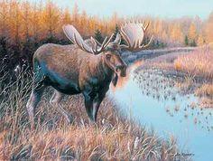Tamarack Moose Original Painting  by Jim Kasper