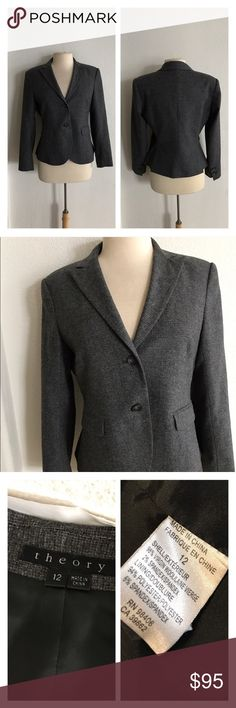 """Theory """"Edynas"""" gray blazer Theory """"Edynas"""" gray blazer. Size 12. Measures 24"""" long with a 36"""" bust. Plain black lining. Two button closure. Front pockets are not functional. Padded shoulders. Very great used condition! Color is most accurate in photos two and three  🚫NO TRADES 💲Reasonable offers accepted 💰Ask about bundle discounts Theory Jackets & Coats Blazers"""
