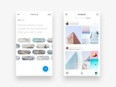 Hey all,  Another shot focused on an Unsplash feature concept called follower feeds. Choose your categories and receive a high quality feed from contributors. These are just two views from a series...