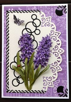 This beautiful card was created by Susan Tierney-Cockburn of Susan's Garden Club. Supplies include: Garden Notes - Hyacinth (1016), Garden Notes - Bugs & Butterflies (1011), Karen Burniston - Paris Edges (979), Susan's Garden Club Tool Set (808), Molding Pad (810), Leaf Pad (811), and PanPastels. Find the supplies here: http://www.elizabethcraftdesigns.com/collections/susans-garden