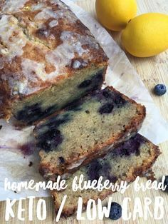 Healthy Recipes : Illustration Description Homemade Blueberry Bread {keto / low carb} – The best keto blueberry bread, it tastes amazing! Make this low carb bread for breakfast or just a snack! Low Carb Bread, Keto Bread, Low Carb Keto, Low Carb Recipes, Bread Recipes, Healthy Recipes, Keto Banana Bread, Bread Food, Easy Bread
