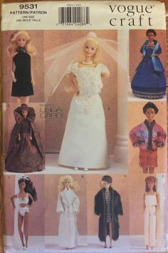 Evening Gown Pattern For 11 Fashion Doll Barbie 1996 Uncut Vogue 9531 Bridal Bra Panties Cape Robe Coat by PrettyfulPatterns on Etsy Country Wedding Dresses, Elegant Wedding Dress, Modest Wedding Dresses, Colored Wedding Dresses, Designer Wedding Dresses, Wedding Dresses Plus Size, Wedding Gowns, Lace Wedding, Dresses Short