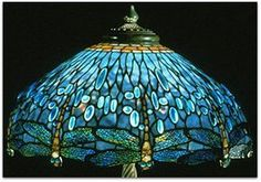 Tiffany glass lamp with blue dragonflies