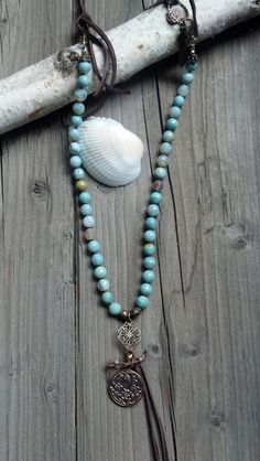 Bohemian leather and faceted Aqua Agate stone by DeetabyDesign