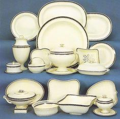 A selection of pieces from a large Queen's ware dinner and dessert service, c1800.