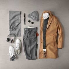 Camel covered grey. Pants/Oxford: @grayers Sweater: @uniqlousa Boiled Wool Topcoat: @bananarepublic Scarf: @ledburyshirts Cashmere Watch: @mkiiwatch Hawking, Type 48 Date Watch Strap: @arrowandboard Black Cordovan Hat: @humanscales Shoes: @commonprojects Achilles Low Socks: @jcrewmens Headphones: @lstnsound Wireless Glasses: @rayban Round Metal