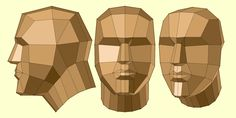 low-poly human head in different perspectives. Character Modeling, 3d Character, 3d Modeling, Character Design, Face Topology, Anatomy Sculpture, 3d Figures, Human Head, Anatomy Art
