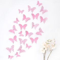 Fresh x Wandkings D Schmetterlinge rosa mit Muster
