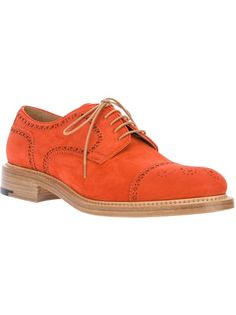Orange suede brogues