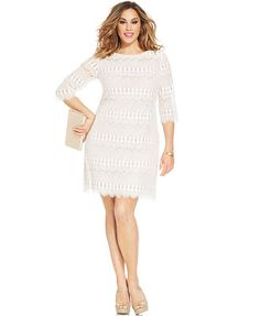 9c9e9ec8805 Jessica Howard Plus Size Illusion Lace Shift Cocktail Dresses With Sleeves