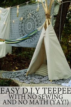 diy teepee no sew easy fast quick cheap glamping