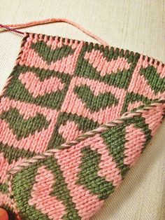 Double-knit.  Free Pattern: From my Heart by Karen S. Lauger.  I like the nice, neat edges.
