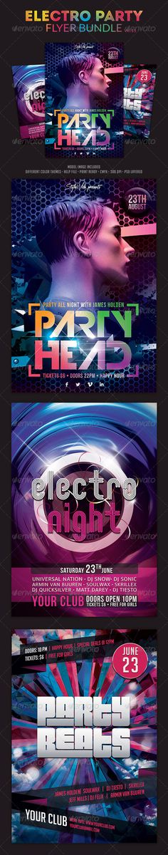 """Electro Party Flyer Bundle Vol.3 #GraphicRiver Electro Party Flyer Bundle Vol.3 The PSD file is very well organized in folders and layers. You can modify everything very easy and quick. Changing the color style, pictures and the typo is no problem. The main folders that will require most customization are highlighted in different colors. PRINT READY : 1275px x 1875px (4×6"""" with .25"""" bleeds), CMYK , 300DPI, .PSD layered Flyers contained: Party Head Flyer Electro Night Flyer Party Beats Flyer…"""