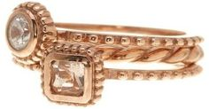 Savvy Cie 18K Rose Gold Plated Sterling Silver CZ Stackable Rings - Set of 3