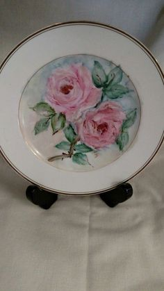 Vintage Royale Aurum China Dinner Plate  White Gold Trim Japan w/Painted Roses
