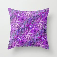 Orchid Color Doodle Flowers with a Radiant Glow Throw Pillow by  RokinRonda - $20.00 @Society6