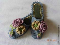 """Обувь ручной работы. Ярмарка Мастеров - ручная работа """"Розы и маки"""" тапочки (подошва валяная). Handmade."""