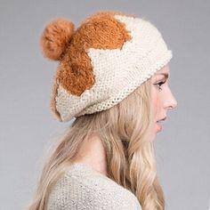 Warm flower knit beret hat for women Rabbit fur ball winter hats