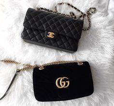 Black Gucci and Chanel bags Gucci Handbags, Luxury Handbags, Purses And Handbags, Gucci Bags, Black Handbags, Black Gucci Bag, Sacs Design, Fashion Bags, Women's Fashion