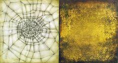 "Luisa Sartori, ""Lines & Weather 33"", Oil, gold leaf, graphite on wood, 12"" x 7"", 2007"