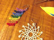 tatting lace ピアス 太陽と虹