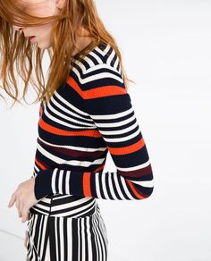 Image 2 of MULTICOLORED STRIPED SWEATER from Zara