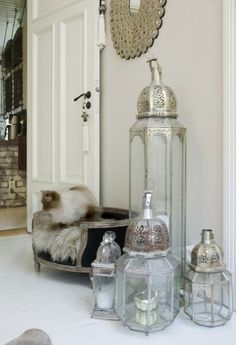 glass & punched metal moroccan lamps by roji
