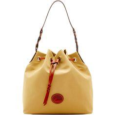 5e7001381335 NWT DOONEY   BOURKE IN434 Khaki NYLON   LEATHER Drawstring Hobo Shoulder  Bag