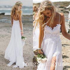 In Stock Beach Wedding Dress Spaghetti Lace Chiffon Bridal Gowns Size 6 8 10 12+