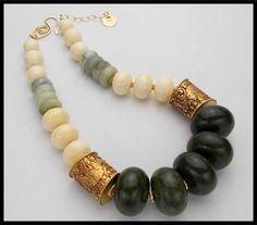 KATHMANDU - Jade - Amber - Handmade Tibetan Repousse - Magnificent Statement Necklace