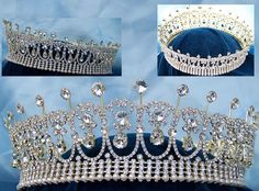 Our Diana Pearl Crown takes its inspiration from the famous Cambridge Lover's Knot Tiara. In this version, it is a full round crown with 3 rows of rhinestones and 1 row of pearl at base for height and